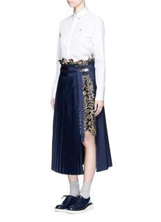 SACAIMetallic embroidery lace poplin pleat midi skirt