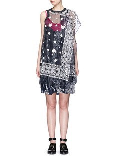 SACAIBandana embroidery overlay camisole dress