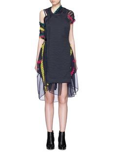 SACAIBandana embroidery trim chiffon drape pleat dress