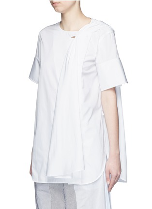 Front View - Click To Enlarge - Ports 1961 - Neck sash drape poplin shirt