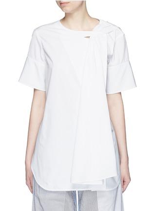 Main View - Click To Enlarge - Ports 1961 - Neck sash drape poplin shirt