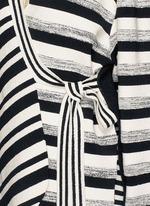 Variegated stripe silk blend knit sash tie jacket