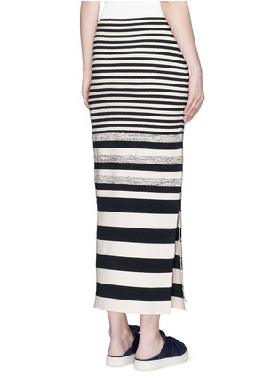 Back View - Click To Enlarge - Ports 1961 - Variegated stripe silk blend knit maxi skirt