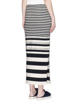 Variegated stripe silk blend knit maxi skirt