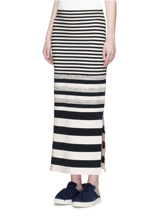 Front View - Click To Enlarge - Ports 1961 - Variegated stripe silk blend knit maxi skirt
