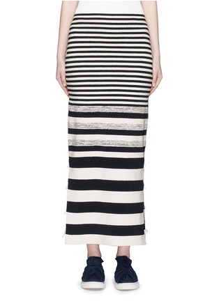 Main View - Click To Enlarge - Ports 1961 - Variegated stripe silk blend knit maxi skirt