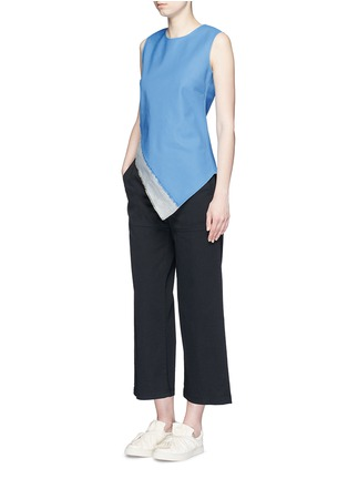 Figure View - Click To Enlarge - Ports 1961 - Slash hem insert asymmetric wool-linen top