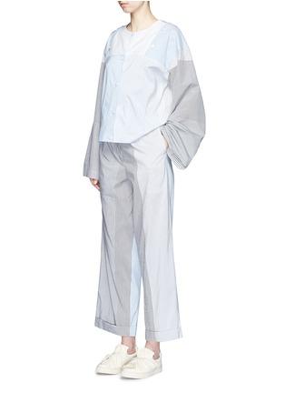 模特儿示范图 - 点击放大 - PORTS 1961 - 条纹拼接府绸上衣