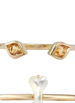 Felix' citrine Mother of Pearl 9k yellow gold two ring set