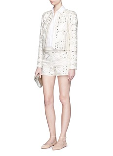 ALICE + OLIVIA 'Marisa' embellished Aztec embroidery shorts