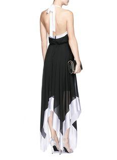 ALICE + OLIVIA'Ember' crinkle crepe halterneck handkerchief dress