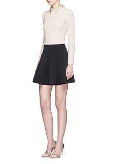 ALICE + OLIVIA'Tamsin' detachable jewelled collar cable knit sweater
