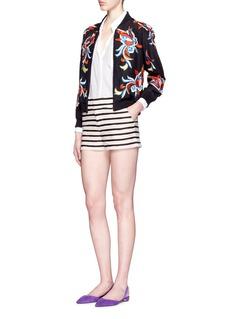 ALICE + OLIVIA'Ernie' contrast stripe terry shorts