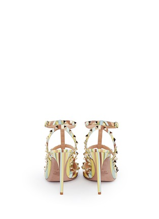 Valentino - 'Rockstud Native Couture' print caged leather pumps