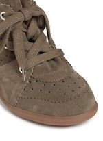 'Bobby' perforated nubuck leather concealed wedge sneakers