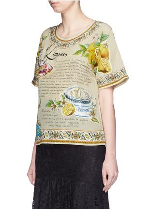 Front View - Click To Enlarge - Dolce & Gabbana - 'Granita al Limones' print silk T-shirt