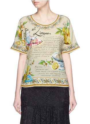Main View - Click To Enlarge - Dolce & Gabbana - 'Granita al Limones' print silk T-shirt