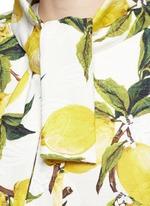 Lemon print brocade pleat back coat