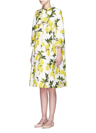 Front View - Click To Enlarge - Dolce & Gabbana - Lemon print brocade pleat back coat