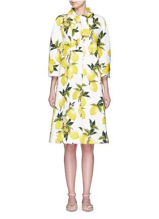 Main View - Click To Enlarge - Dolce & Gabbana - Lemon print brocade pleat back coat