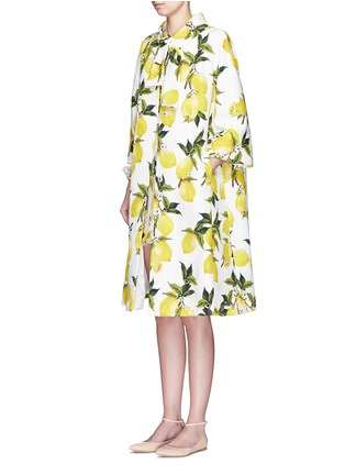 Figure View - Click To Enlarge - Dolce & Gabbana - Lemon print brocade pleat back coat