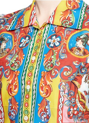 Detail View - Click To Enlarge - Dolce & Gabbana - Carretto print poplin cropped shirt