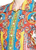 Carretto print poplin cropped shirt