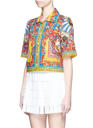 Front View - Click To Enlarge - Dolce & Gabbana - Carretto print poplin cropped shirt