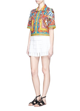 Figure View - Click To Enlarge - Dolce & Gabbana - Carretto print poplin cropped shirt