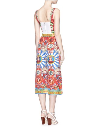 Back View - Click To Enlarge - Dolce & Gabbana - Sicilian Carretto print floral brocade jumpsuit