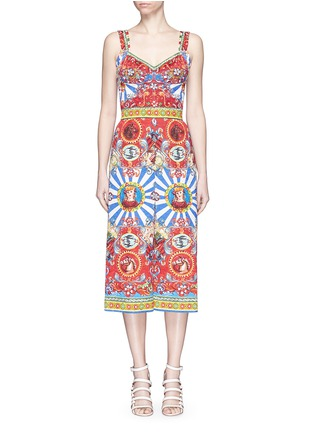 Main View - Click To Enlarge - Dolce & Gabbana - Sicilian Carretto print floral brocade jumpsuit