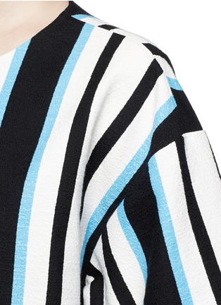 Detail View - Click To Enlarge - Dolce & Gabbana - Variegated stripe Stuoia tweed boxy top