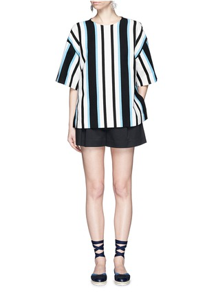 Figure View - Click To Enlarge - Dolce & Gabbana - Variegated stripe Stuoia tweed boxy top