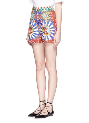 Front View - Click To Enlarge - Dolce & Gabbana - Carretto print poplin shorts