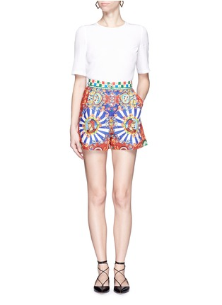 Figure View - Click To Enlarge - Dolce & Gabbana - Carretto print poplin shorts