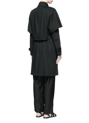 Back View - Click To Enlarge - Balenciaga - Cape back cotton twill trench coat