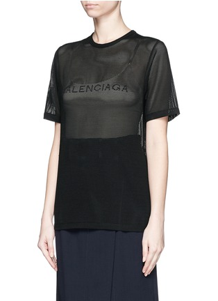 Front View - Click To Enlarge - Balenciaga - Ajoure logo mesh T-shirt