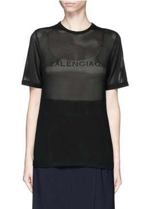 Main View - Click To Enlarge - Balenciaga - Ajoure logo mesh T-shirt