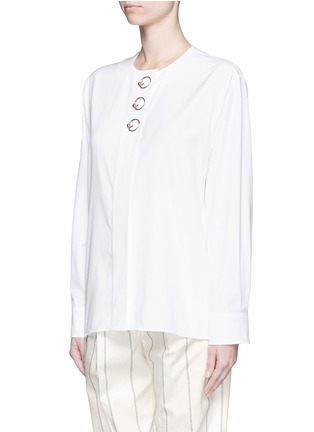 Front View - Click To Enlarge - Balenciaga - Ring detail cotton Oxford shirt