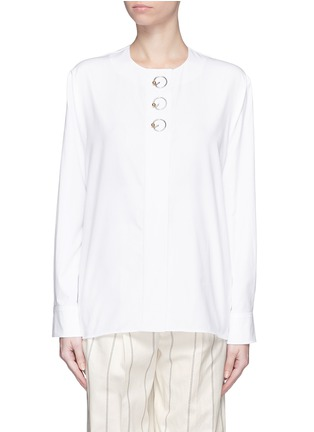 Main View - Click To Enlarge - Balenciaga - Ring detail cotton Oxford shirt