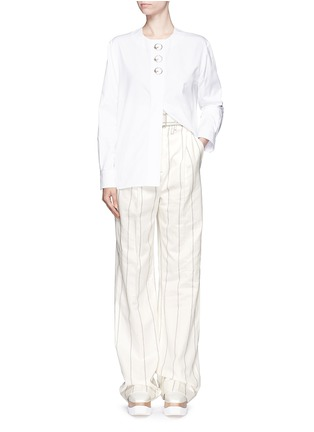 Figure View - Click To Enlarge - Balenciaga - Ring detail cotton Oxford shirt