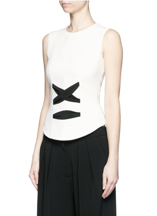 Front View - Click To Enlarge - Balenciaga - Lace-up front crepe tank top