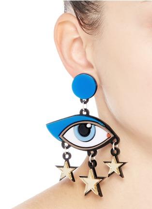 Figure View - Click To Enlarge - YAZBUKEY - 'Bette Davis Eyes' Plexiglas clip earrings