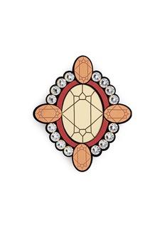 YAZBUKEY'Gold Diamonds' gemstone Plexiglas brooch