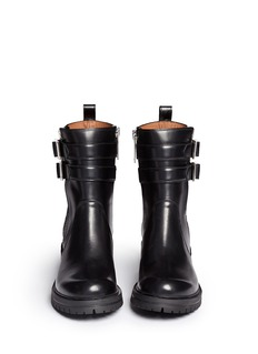 GIVENCHYDouble buckle strap leather combat boots