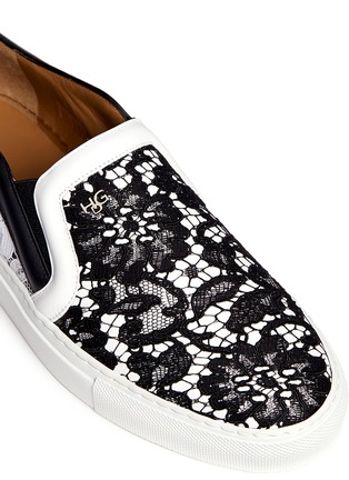 Detail View - Click To Enlarge - Givenchy - HDG contrast lace leather skate slip-ons