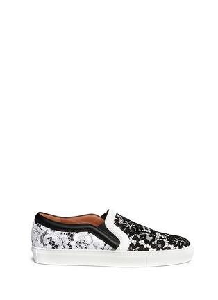 Main View - Click To Enlarge - Givenchy - HDG contrast lace leather skate slip-ons