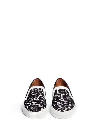 Figure View - Click To Enlarge - Givenchy - HDG contrast lace leather skate slip-ons