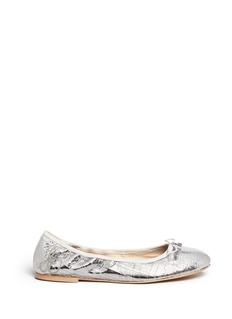 SAM EDELMAN'Felicia' cracked metallic leather ballerinas