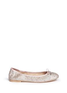 SAM EDELMAN'Felicia' sequin metallic leather ballerinas